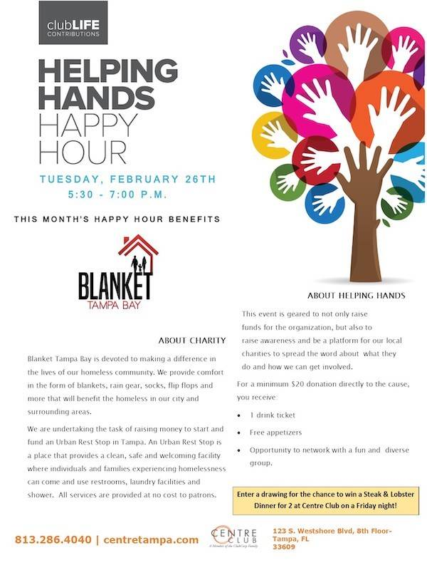 This is a 600x800 pixel image containing information about the February 2019 Helping Hands Happy Hour Centre Club Event supporting Blanket Tampa Bay that Idea To Growth LLC and Kenneth Ervin Young Supports.