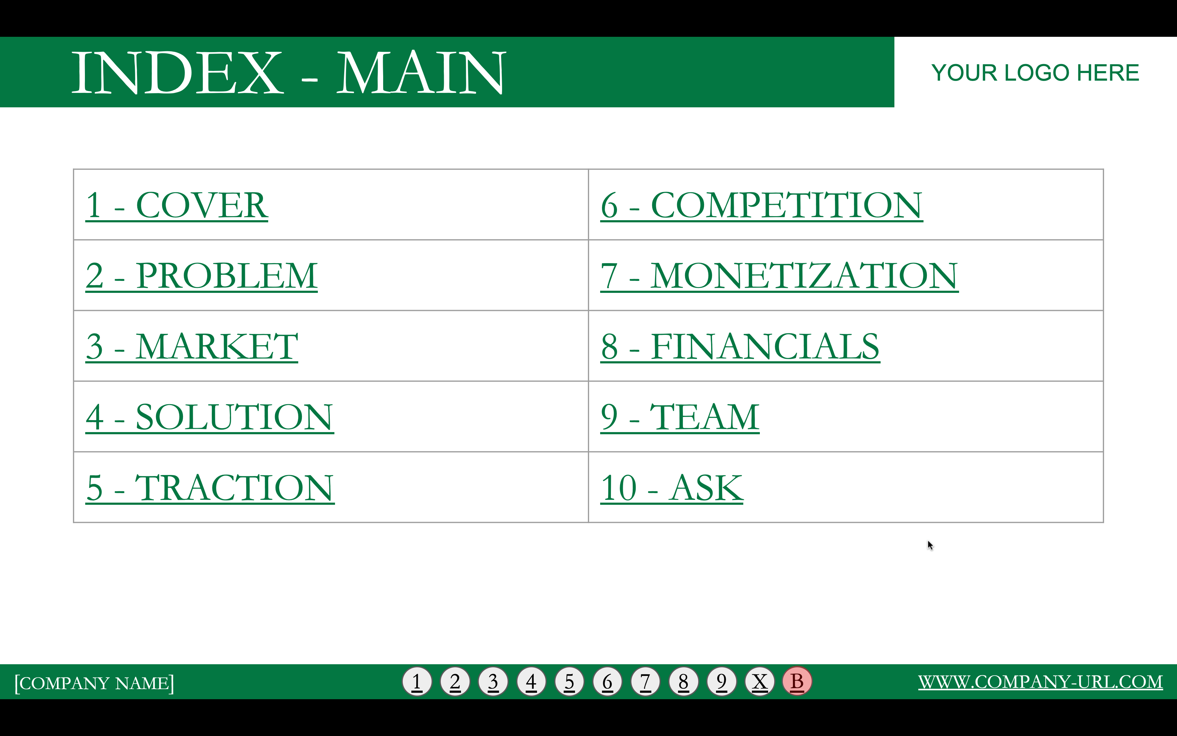 This image is a screenshop of slide 11 of the investor pitch deck showing 10 hyperlinks to the 10 backup sections that are included in Power Pack #3